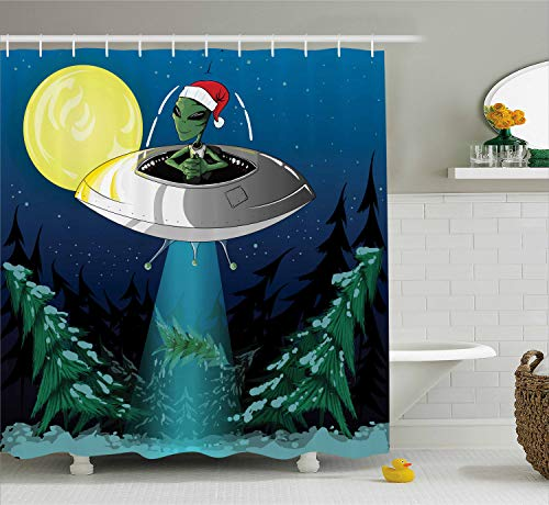 Lime Green Santa Hat - Ambesonne Outer Space Shower Curtain, Alien