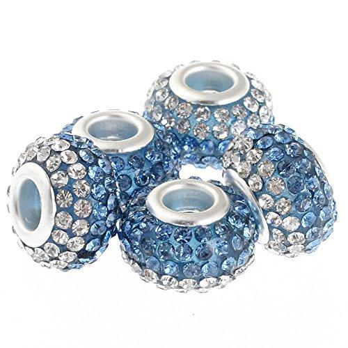RUBYCA Big Hole Czech Crystal Large Charm Beads fit European Bracelet (5pcs, 15mm, Blue and White)