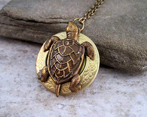 - Handmade Vintage Brass Turtle Locket Necklace