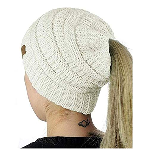 Heyuni.1PC Womens Warm Cable Knitted Messy High Bun Hat Beanie with Hole for Pony Tail Skull Cap,White