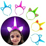 Unicorn Headband Pack Party Supplies Favors for Girls Kids Gifts,5 Pack Light Up Unicorn Headband with A Luminous Temporary Art Tattoo for Birthday Halloween Xmas Party Cosplay