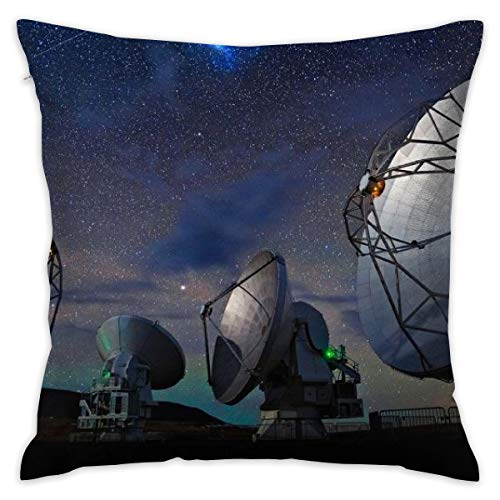 - 18x18 Inches Square Throw Pillow Covers Radar Station Pillow Cushion Cases for Couch Sofa Bed