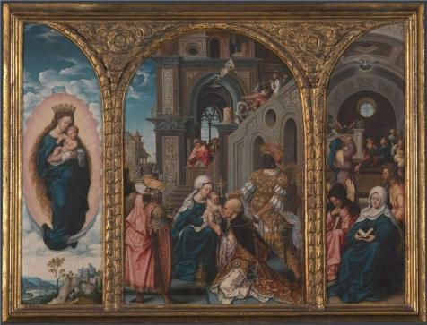 'Circle Of Jan Gossaert-The Adoration Of The Kings,16th Century' Oil Painting, 10x13 Inch / 25x33 Cm ,printed On High Quality Polyster Canvas ,this High Quality Art Decorative Prints On Canvas Is Perfectly Suitalbe For Bar Artwork And Home Decoration And Gifts