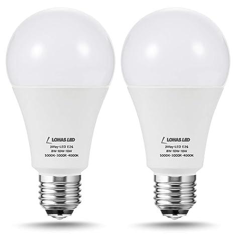 Lohas Led 3 Way Light Bulbs 50 100 150watt Equivalent Led 3 Color Daylight Soft Netural White Light Bulb 8 10 18watt 800 1000 1800lumen Light