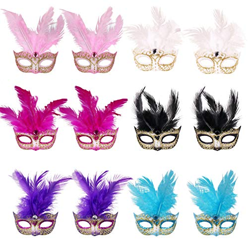 12pcs Set Mini Feather Masqurade Masks,Small Mardi Gras Mask Halloween Novelty Gifts Party -