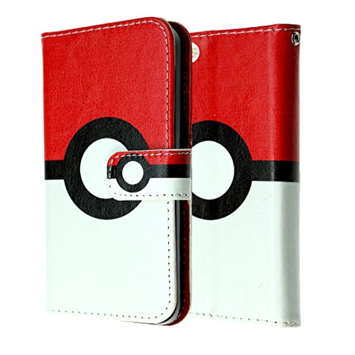 Price comparison product image iPhone SE Wallet Case, IMAGITOUCH Folio Flip PU Leather Wallet Case with Kickstand Wrist strap and Card Slots for iphone 5 5S SE- Poke Ball Pokemon Go Wallet