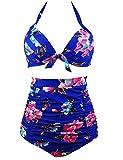 Saslax Retro 50s Black Pink Blue Floral Halter High Waist Bikini Carnival Swimsuit (XXL=US10-12, Blue)