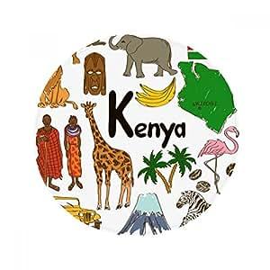 DIYthinker Kenya Landscap Animales Bandera Nacional Alfombrilla Antideslizante Alfombra Pet Redonda baño salón Cocina Puerta 80cm Regalo
