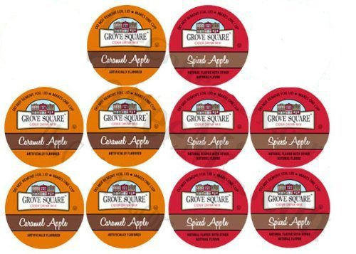 (10 Cup Grove Square® SPICED & CARAMEL Apple Cider Single Serve Cups! 2 Delicious flavors! New Recipe! Made with real apples.)