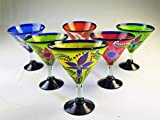 Mexican Glass Margarita/Martini Hand Blown Hand Painted Flowers, Mixed, 14 Oz, Set of 6