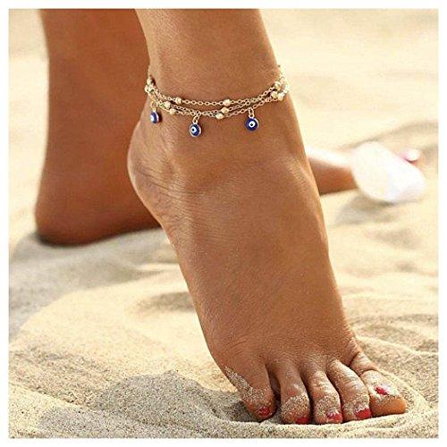 Ankle Bracelet Anklet Eye - Aukmla Bead Anklet Beach Ankle Bracelet Foot Chain Barefoot Sandal Adjustable for Women and Girls (Evil Eyes (Gold))