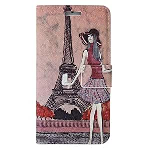 PEACH Iron Tower Background Girl Colored Drawing Pattern PU Leather Full Body Case with Stand and Card Slot for iPhone6 Plus