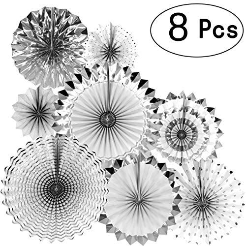 AKIO CRAFT Silver Wedding Party Hanging Paper Fans Decorations Bachelorette Bridal Shower Party Ceiling Hangings Baby Shower Birthday Nursery Party Decorations, 8pc