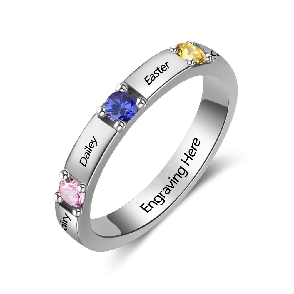 Love Jewelry Personalized Stackable Mother Name Ring Diy 3 Simulated Birthstone Engagement Promise Ring For Her