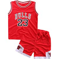 Modaka 2PCS Juegos de Baloncesto para niños Uniformes Deportivos para niños Ropa Deportiva sin Mangas Camisetas y…