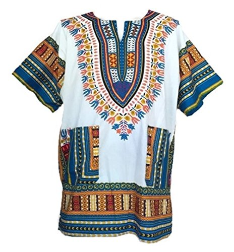 (Vipada Handmade Dashiki Shirt African Top Clothing Kaftan White and Lightblue XXXL)