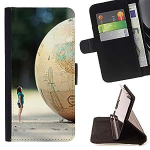 - DWARF PLANET GLOBE MINION ART WOMAN - - Prima caja de la PU billetera de cuero con ranuras para tarjetas, efectivo desmontable correa para l Funny HouseFOR Samsung Galaxy S5 Mini, SM-G800