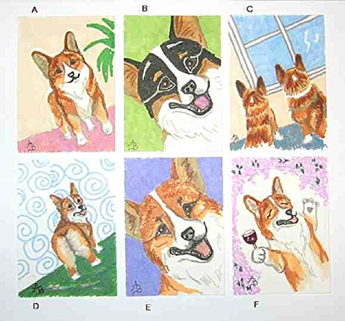 - Original Miniature Art ACEO ATC size Welsh CORGI Happy Corgis Original Colored Pen Drawing....Choose one design