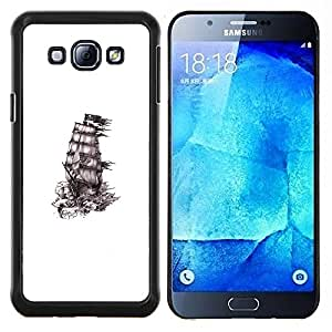 YiPhone /// Prima de resorte delgada de la cubierta del caso de Shell Armor - Barco Piratas de tinta blanca Negro Limpiar - Samsung Galaxy A8 A8000