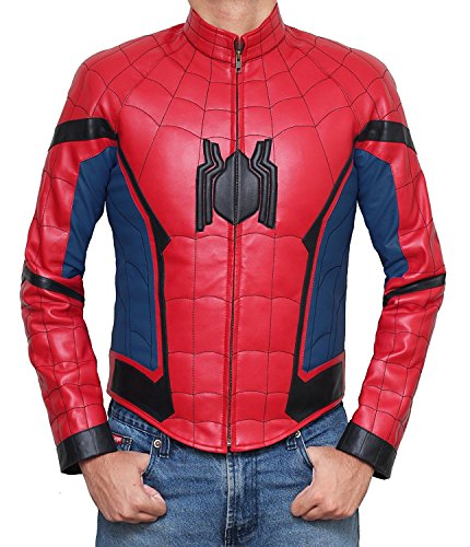 [Spider-Man Costume for Halloween 2017 - Cosplay Leather Jacket PU | Red, L] (Spiderman Outfit Adult)