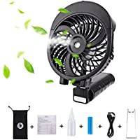 LIANGUS Handheld Misting Fan Rechargeable Battery Powered Water Cooling Fan Foldable Desk Fan 3 Wind Speeds Water Spray Fan Portable Personal Fan (Black)