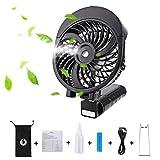 LIANGUS Handheld Misting Fan Rechargeable Battery Powered Water Cooling Fan Foldable Desk Fan 3 Wind Speeds Water Spray Fan Portable Personal Fan (Black)