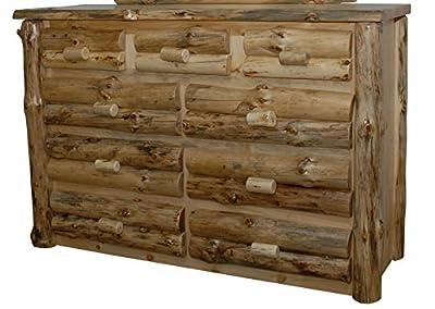 Rustic Pine Half Log 9-Drawer Dresser - Amish Made in USA