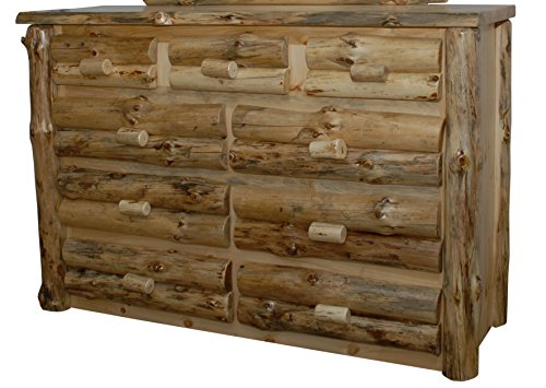 Rustic Pine Half Log 9-Drawer Dresser - Amish Made in USA (Clear Varnish) - Drawer Half Log