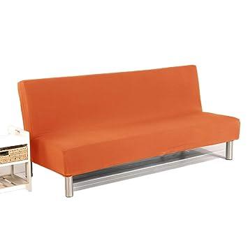 SANDM Color sólido Sofá Cama Cubierta, Funda de sofá Slipcover Plegado Completo Elástico Sin Brazos