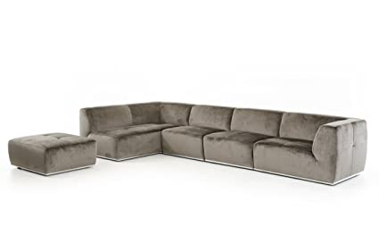 Amazon.com: Divani Casa Hawthorn Modern Grey Fabric ...