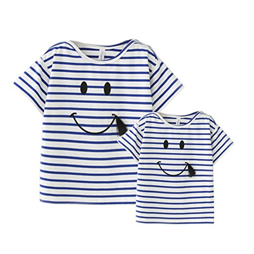 Cutelove Family Matching Summer Striped Blouse Smile Pattern Matching Mother Daughter Girls Baby Love T-Shirts Tops