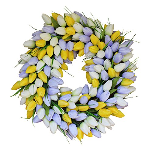 Yellow And Pale Lavender Tulip Front Door Wreath 19 Inch - Stunning Silk Front Door Wreath For Summer and Spring Wreath Display, Extremely Full Design, Beautiful White Gift Box Included by The Wreath Depot