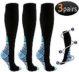 REEHUT 3 Pairs Compression Socks (20-30mmHg) for Men & Women - Great for Running, Nursing, Medical, Athletic, Edema, Flight Travel, Pregnancy and Shin Splints (Blue, L/XL)