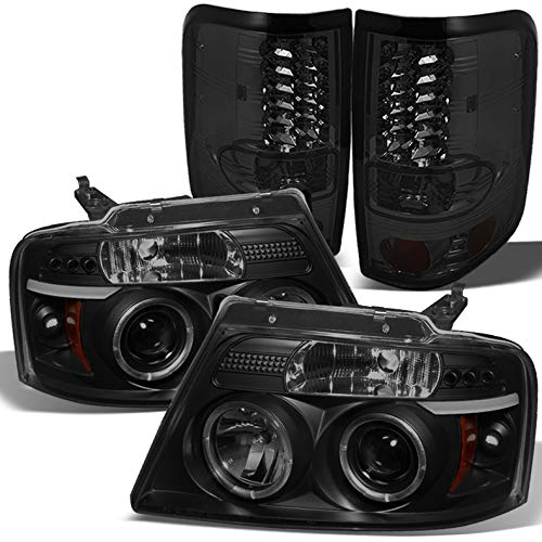 For 2004-2008 Ford F150 Black Smoked Halo Projector Headlights + Smoked LED Tail Lights 2005 2006 2007