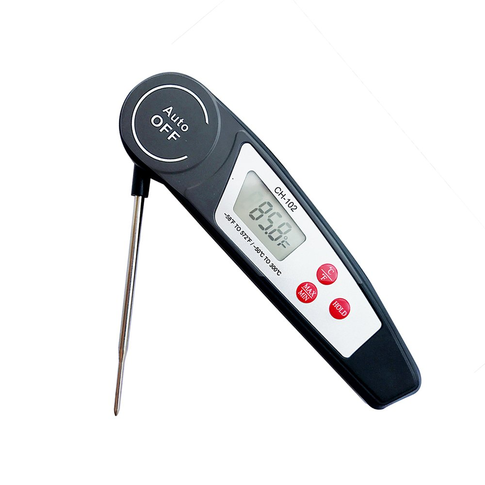 Waterproof Digital Cooking Food Meat Thermometer Fast Instant Read Thermometer with Calibration Function Foldable Probe for Kitchen Home Baking Cooking BBQ Grill Smoker Meat Fry Food Milk
