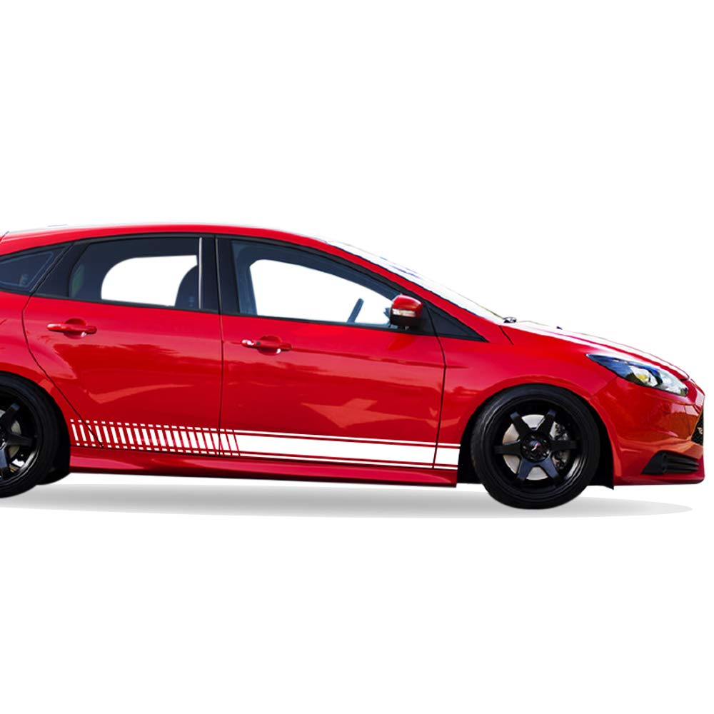 Amazon com bubbles designs 2x lowered side stripes decal sticker vinyl kit compatible with ford focus rs st hatchback automotive