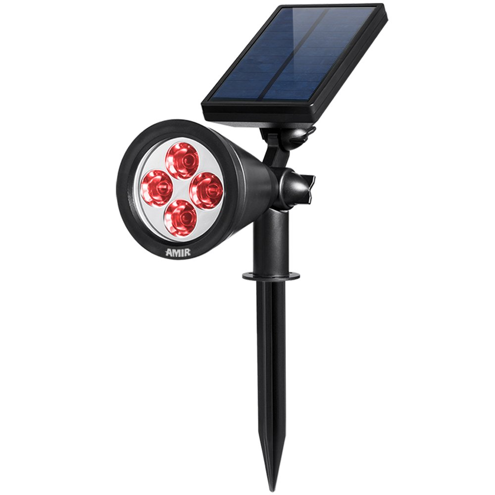 AMIR Solar Spotlights Outdoor Upgraded, Waterproof 4 LED Security Landscaping Lights, Adjustable Solar Garden Light with Auto On/Off for Yard Driveway Pathway Pool Patio (Red) by AMIR