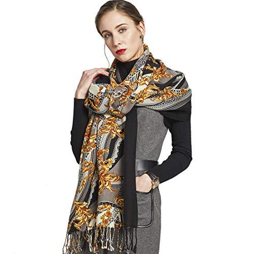 DANA XU 100% Pure Wool Women's Large Traditional Cultural Wear Pashmina Scarf (Black) (Yellow&Black03)