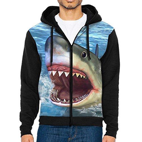 (LAIUE Men's Ocean Shark 3D Printed Zipper Hooded Casual Drawstring Pullover Hoodie)