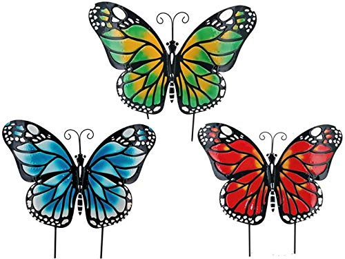 Art Trio Butterfly (TisYourSeason Large 3' Metal Butterfly Decorative Garden Yard Art Trio Outdoor Decorations)