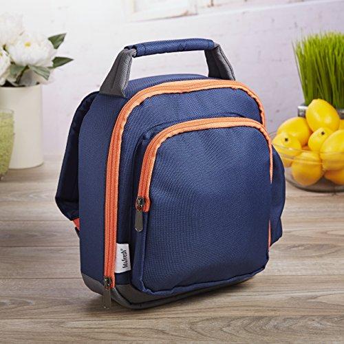 Beverage Pocket - Fit & Fresh Mini Lunch Backpack for Kids, Insulated with Side Drink Pocket and Front Zippered Pocket, Navy & Orange