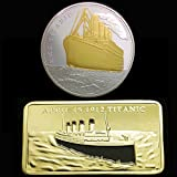 2 Pcs Titanic Commemorative Silver Coated Medal Coin and Bullion Bar Double Design