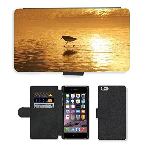 "PU Leather Cover Custodia per // M00421612 Sanderling échassier Water Beach // Apple iPhone 6 PLUS 5.5"""