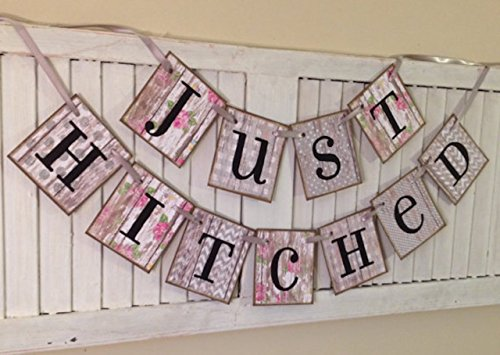(Just Hitched Wedding Banner Bunting Sign Garland Shabby Chic Cottage Chic Just Married Great Photo Prop)