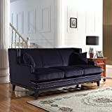 Modern Soft Velvet Sofa with Nailhead Trim Detail (Black)