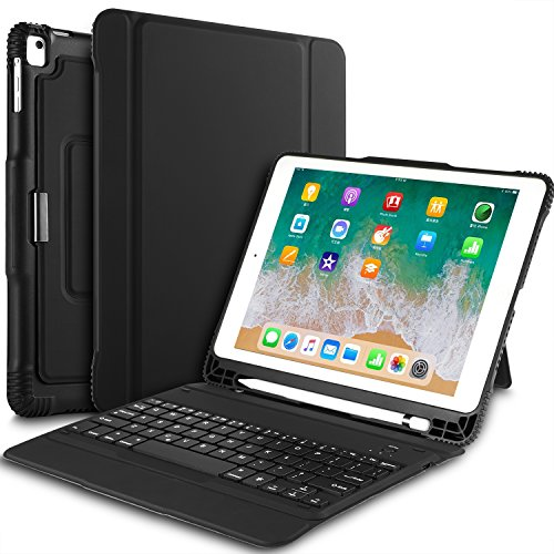 IVSO Keyboard Case for New iPad 9.7 2018 - Detachable Wireless Keyboard with 3 Viewing Angles Stand Case Cover Pencil Slot for Apple iPad 9.7 2018 2017 iPad Pro 9.7 iPad Air 1 2 (Black)