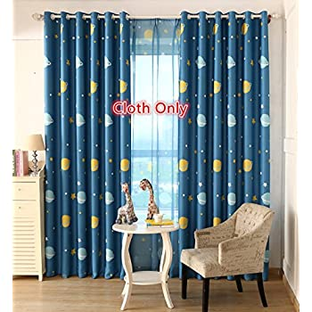 Amazon.com: Navy Stars Kids Room Curtain - NICETOWN Space Inspired ...