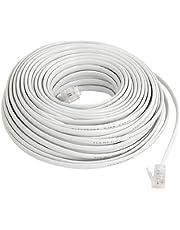 uxcell Flexible RJ11 6P2C Telephone Extenstion Cable 20M Long White