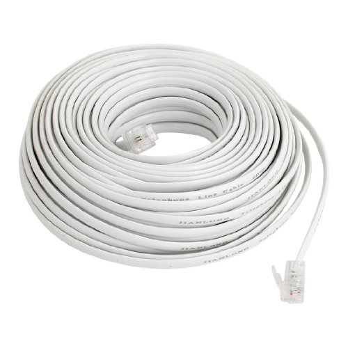 uxcell Flexible RJ11 6P2C Telephone Extenstion Cable 20M Long White by uxcell
