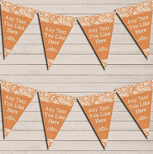 - Pretty Lace Burnt Orange Wedding Day Married Bunting Garland Party Venue Decoration Party Flag Banner Garland